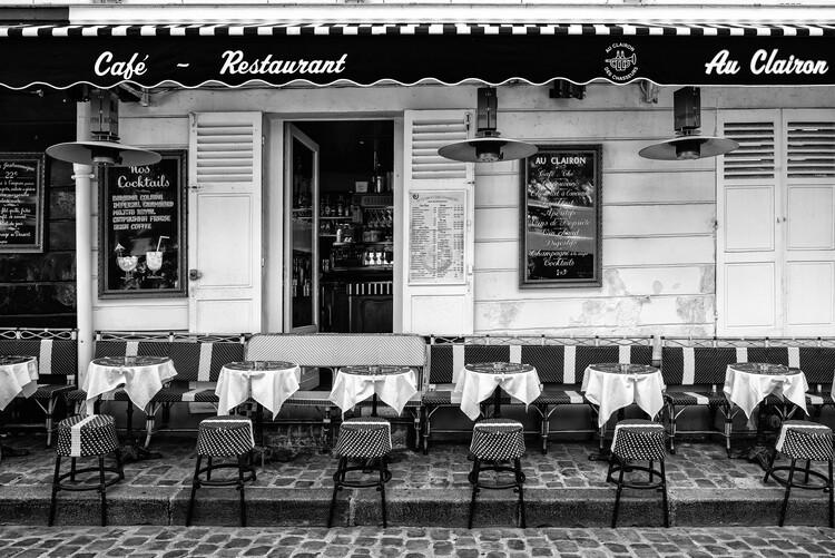 Canvas Print Black Montmartre - Paris Café Restaurant