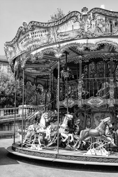 Canvas Print Black Montmartre - Paris Merry-Go-Round