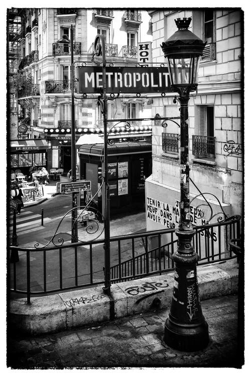 Canvas Print Black Montmartre - Paris Metro