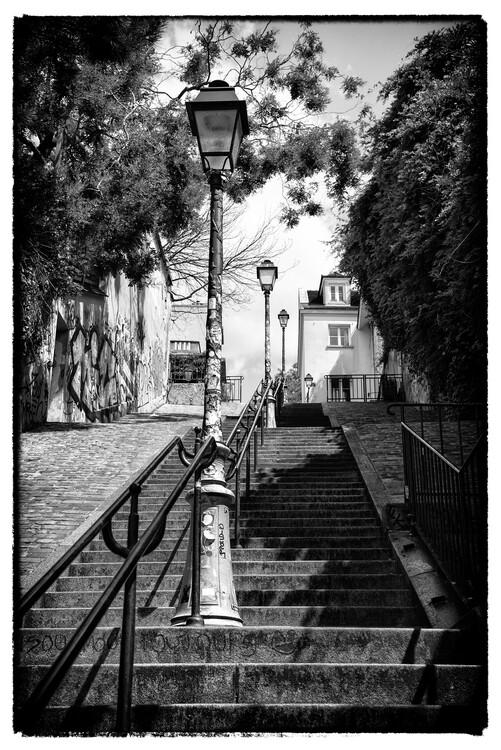 Canvas Print Black Montmartre - Paris Stairs