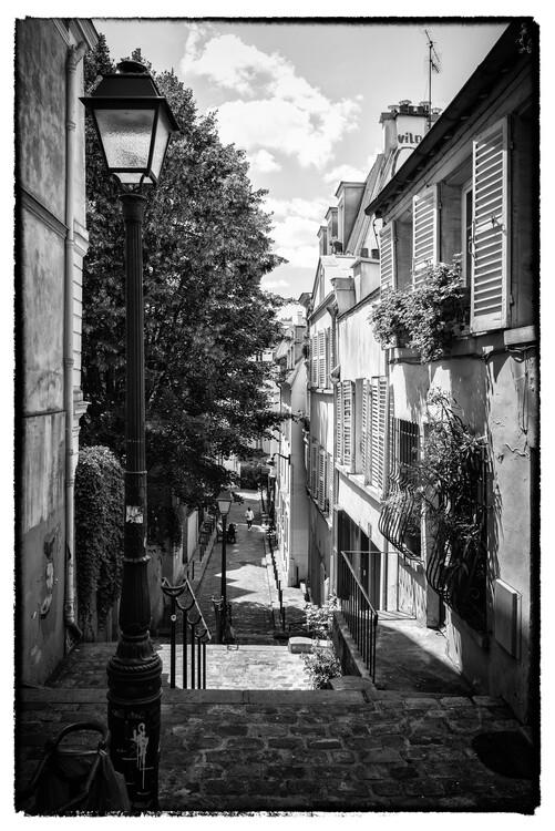 Canvas Print Black Montmartre - Parisian Alley