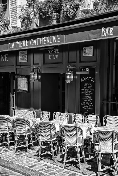 Canvas Print Black Montmartre - Parisian Restaurant