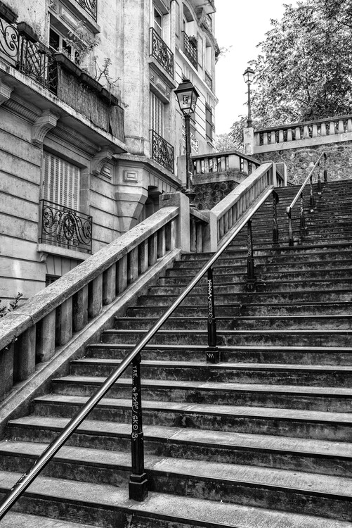 Canvas Print Black Montmartre - Parisian Stair Railing