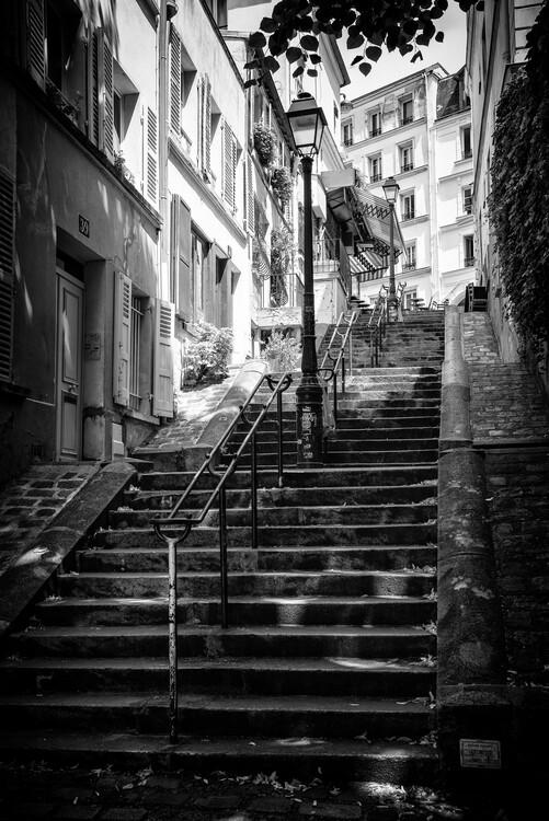 Canvas Print Black Montmartre - Parisian Staircase Climb
