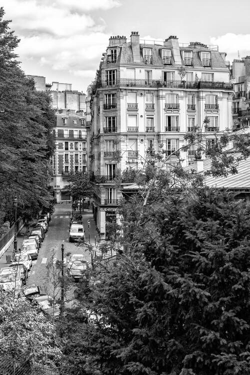 Canvas Print Black Montmartre - Parisian Street