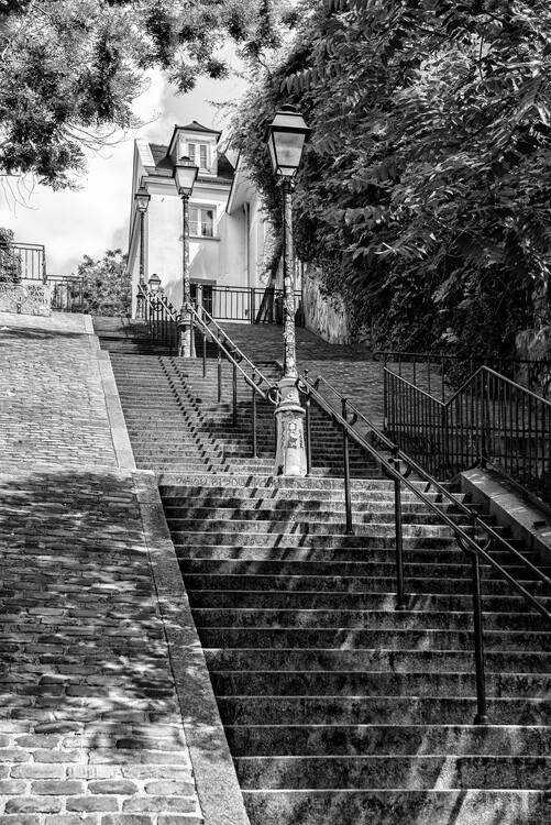 Canvas Print Black Montmartre - Stairs Climb