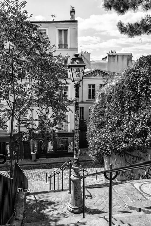 Canvas Print Black Montmartre - Street of Paris