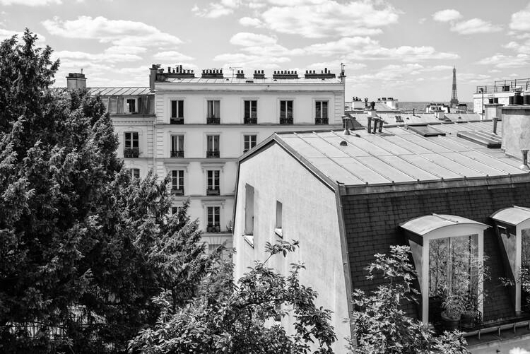 Canvas Print Black Montmartre - View over the Rooftops of Paris