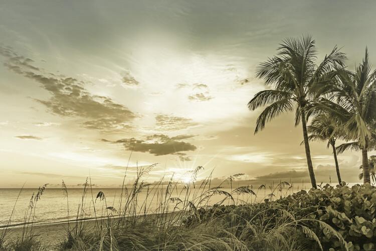 BONITA BEACH Sunset | Vintage Canvas Print