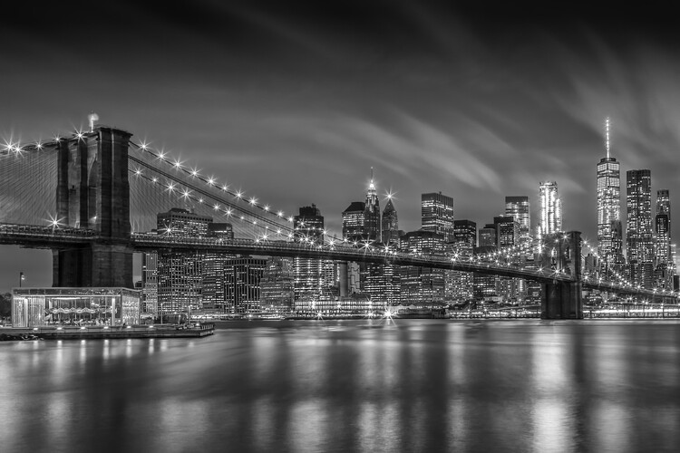 Canvas Print BROOKLYN BRIDGE Nightly Impressions | Monochrome