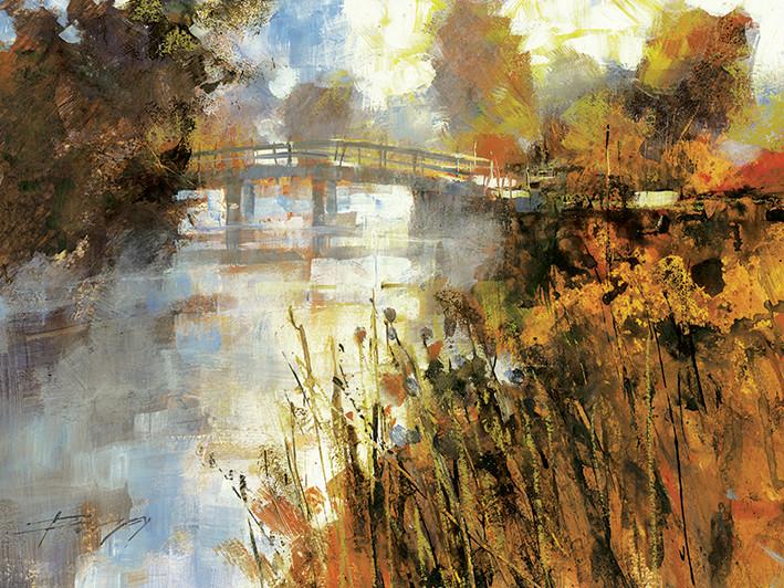Canvas Print Chris Forsey - Bridge at Autumn Morning