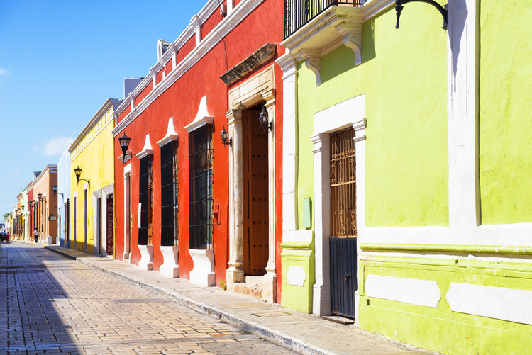 Canvas Print Color Street in Campeche