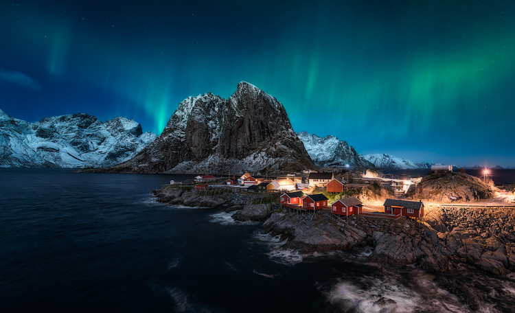 Canvas Print Dancing over Hamnoy