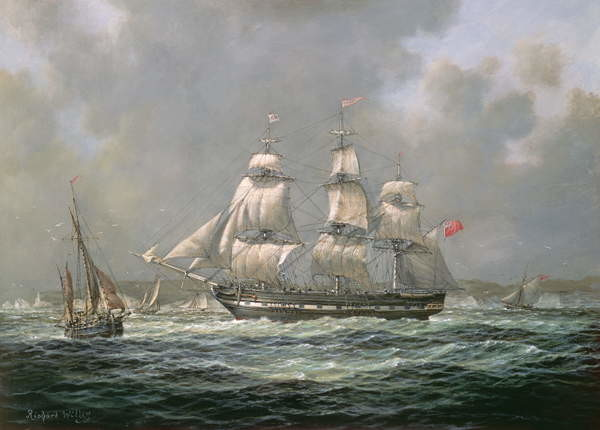 Canvas Print East Indiaman H.C.S. Thomas Coutts off the Needles, Isle of Wight