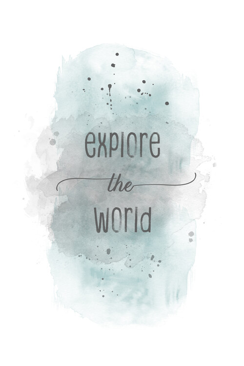 Explore the world | watercolor turquoise Canvas Print
