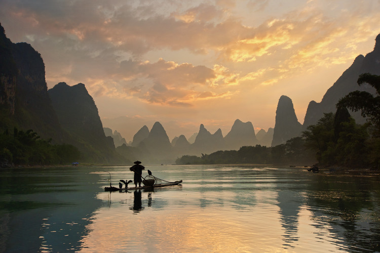Canvas Print Golden Li River