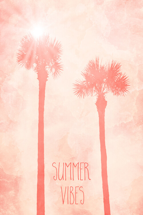Graphic Art PALM TREES Summer Vibes Canvas Print