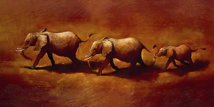 Canvas Print Jonathan Sanders  - Three African Elephants