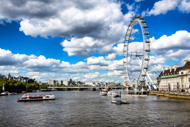 Landscape of River Thames with London Eye Canvas Print