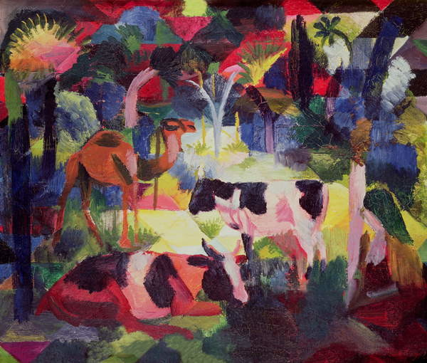 Canvas Print Landscape with Cows and a Camel