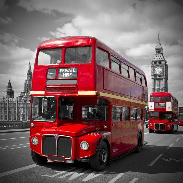 Canvas Print LONDON Red Buses on Westminster Bridge