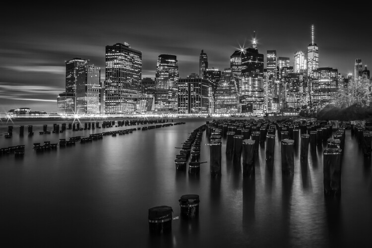 Canvas Print Manhattan Skyline at Sunset | Monochrome