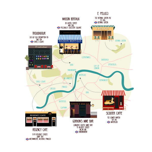 Canvas Print Map of Unique London Eateries and Bars
