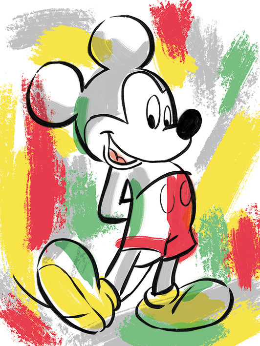 Canvas Print Mickey Mouse - Paint Stripes