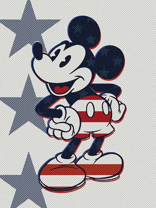 Canvas Print Mickey Mouse - Retro Stars n' Stripes