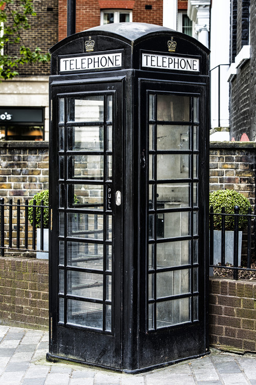 Old Black Telephone Booth Canvas Print