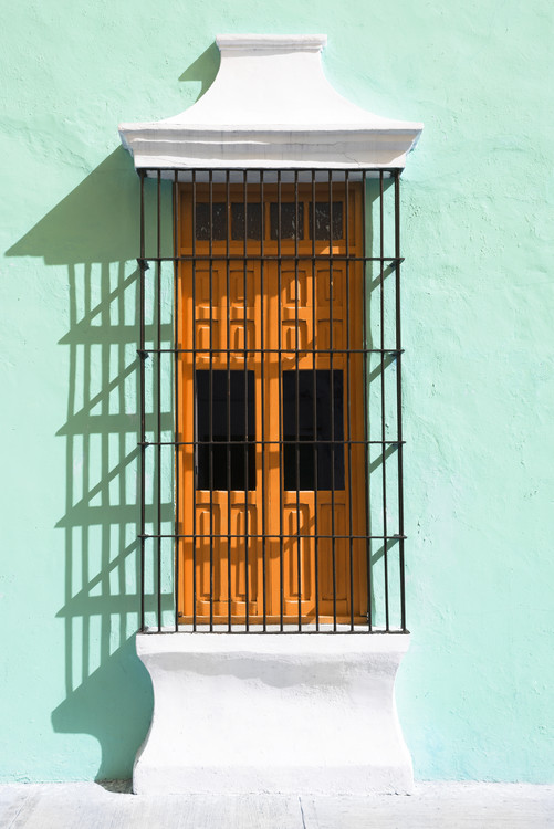 Canvas Print Orange Window and Coral Green Wall in Campeche