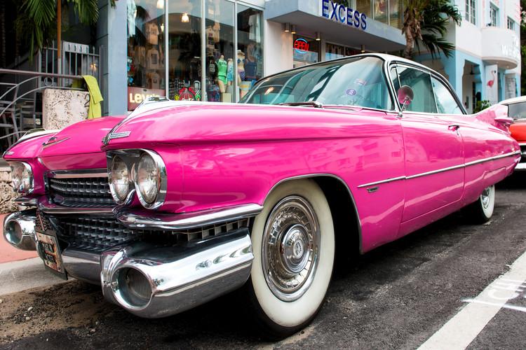 Canvas Print Pink Classic Car