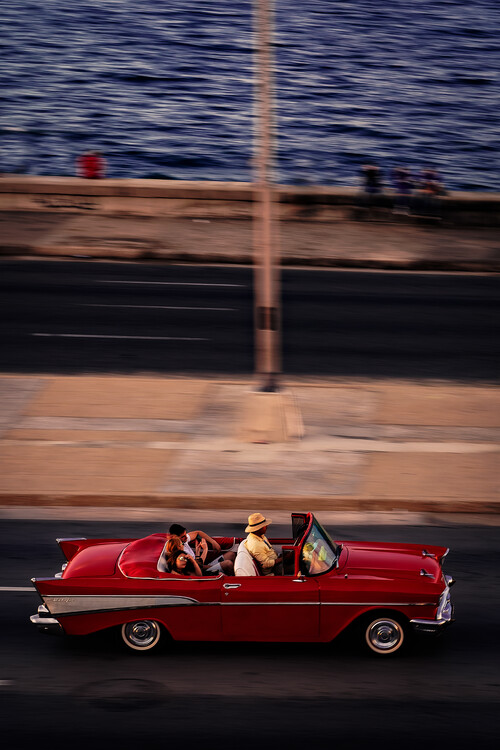 Canvas Print Red Car Driving