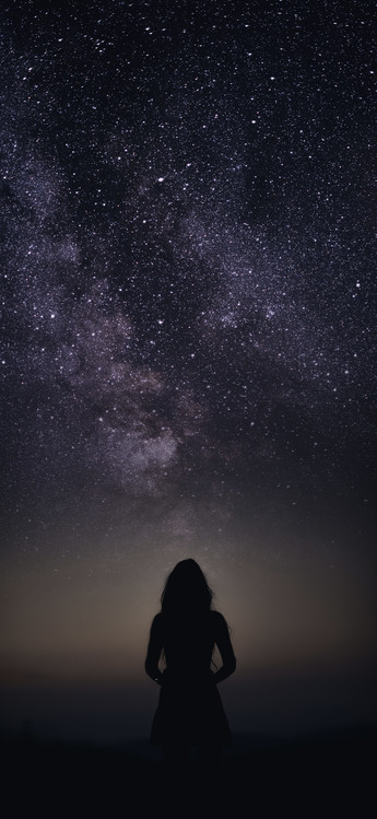 silhouette of woman looking stars Canvas Print