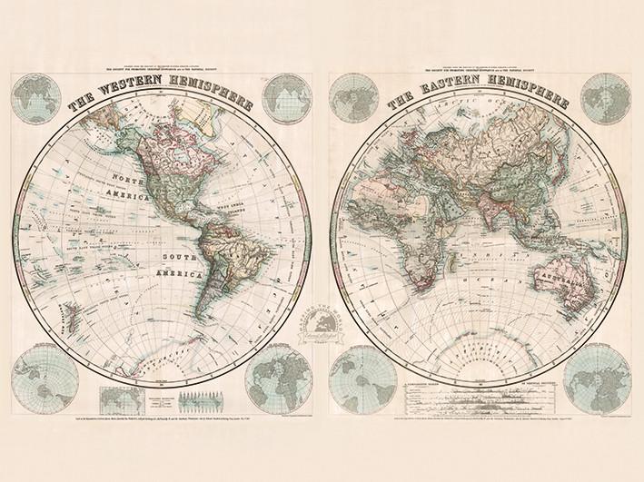 Canvas Print Stanfords Eastern and Western Hemispheres Map - 1877
