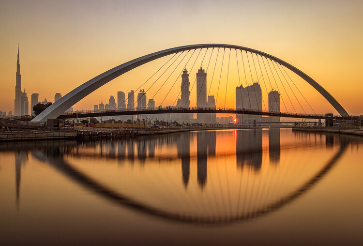 Canvas Print Sunrise at the Dubai Water Canal