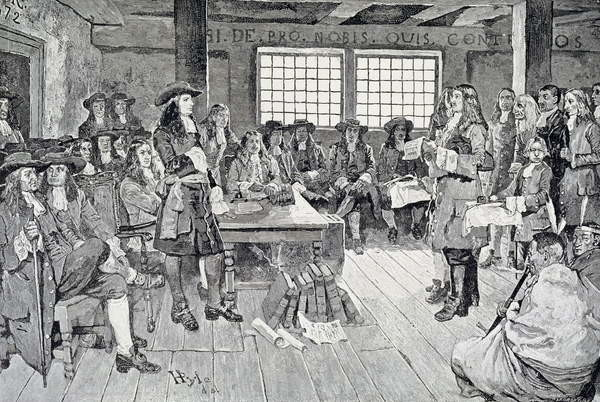 Canvas Print William Penn in Conference with the Colonists