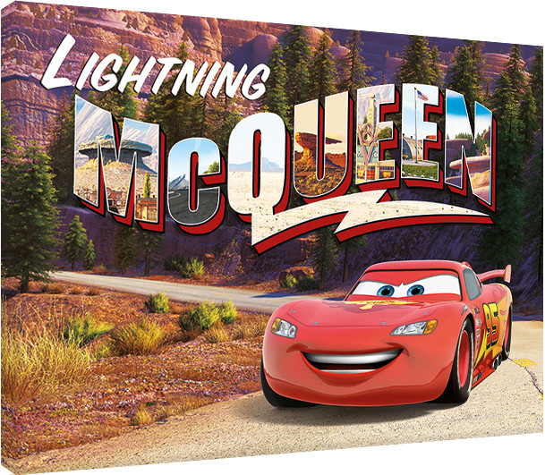 graphic about Lightning Mcqueen Printable Decals titled Canvas Print Cars and trucks - Lightning Mcqueen Mountain Enthusiasm, Marketed at Europosters.european