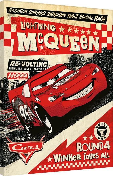 Cars - Lightning Mcqueen Race Canvas Print
