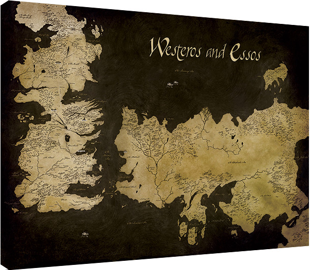photo about Printable Map of Westeros named Canvas Print Activity of Thrones - Westeros and Essos Antique Map, Bought at Europosters.european