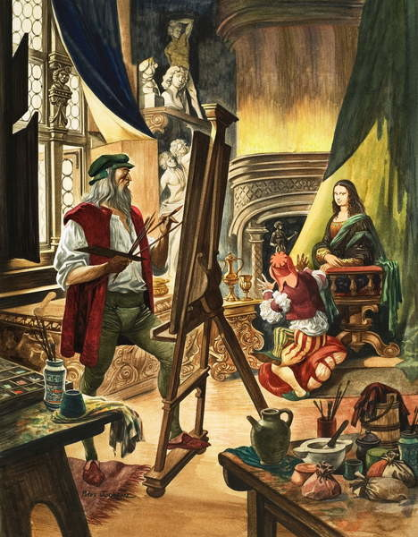 Leonardo da Vinci painting the portrait of the Mona Lisa Canvas Print