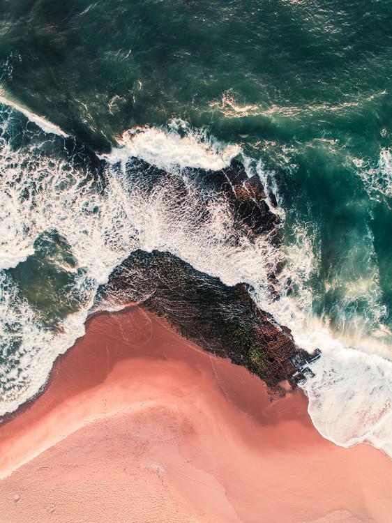 Red beach on the Atlantic coast Canvas Print