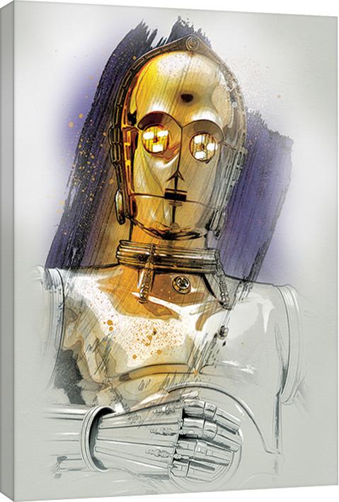 Star Wars The Last Jedi - C-3PO Brushstroke Canvas Print