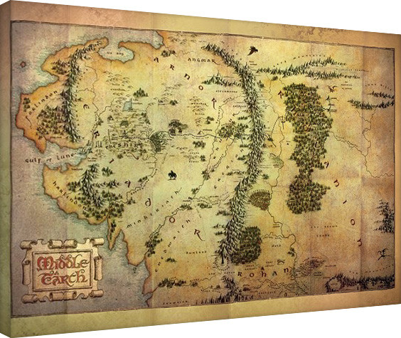 the hobbit middle earth map canvas print