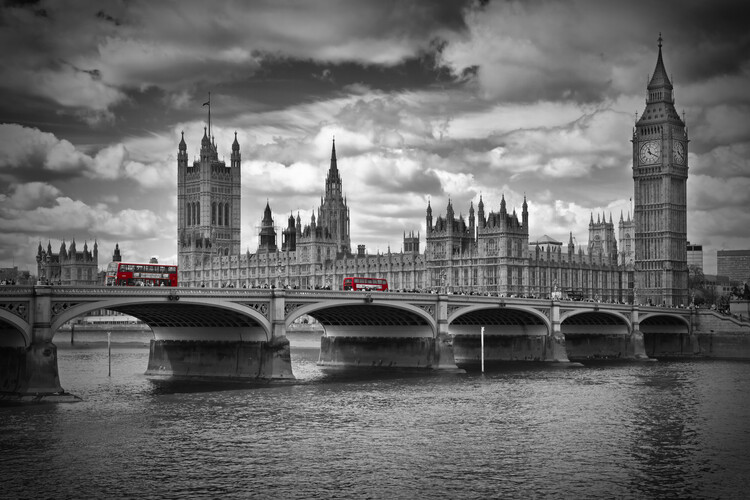 Canvas-taulu LONDON Westminster Bridge & Red Buses