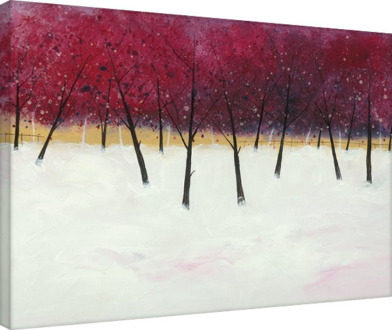Stuart Roy - Red Trees on White Canvas-taulu