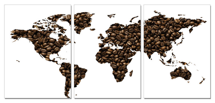 Carte du monde - café Tableau Multi-Toiles