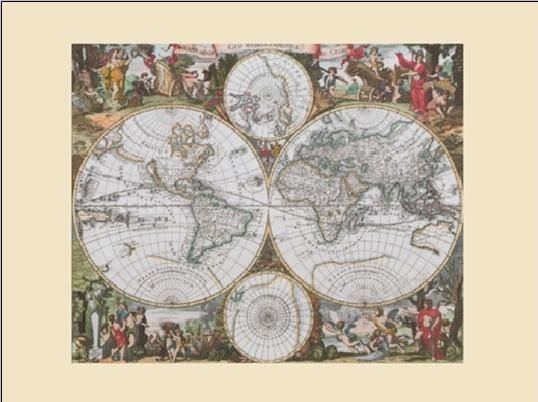 Carte du Monde Historique Reproduction d'art
