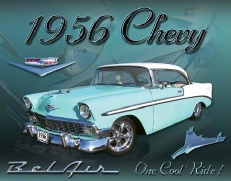 CHEVY 1956 - bel air Plaque métal décorée