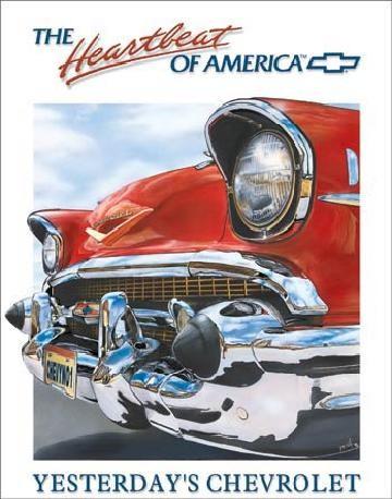CHEVY HEARTBEAT - Chevrolet Plaque métal décorée